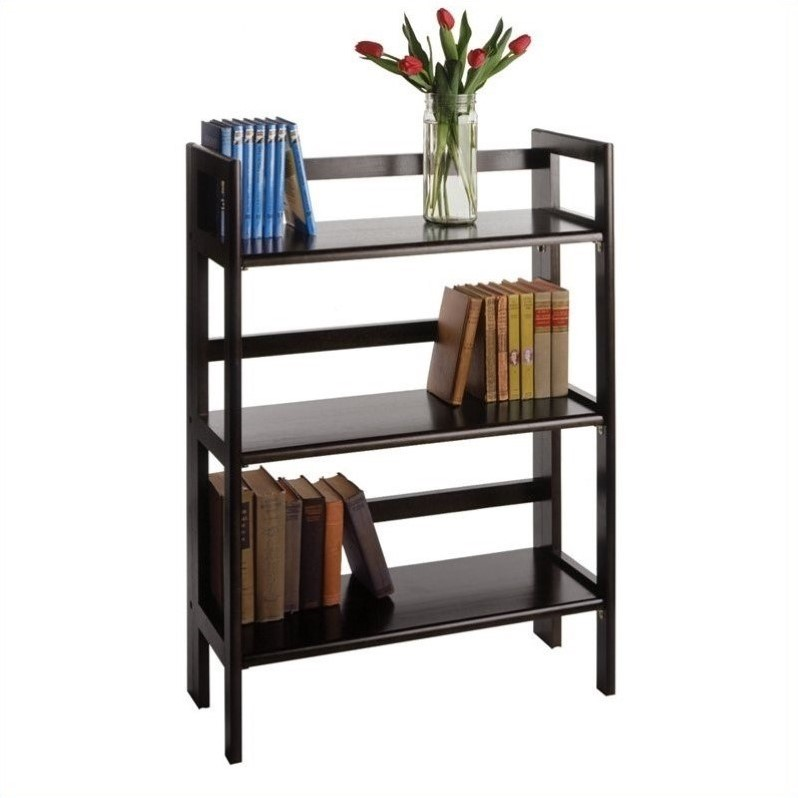 Winsome 3-Tier Stackable and Folding Shelf in Black Beechwood