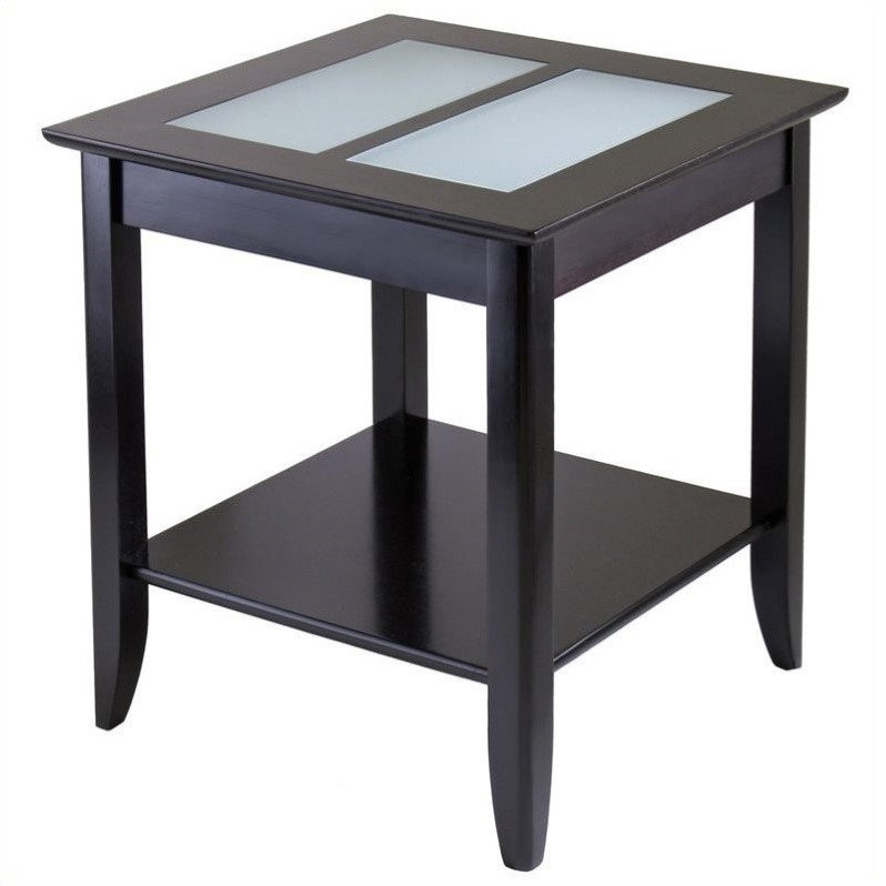 Syrah Solid Wood End Table in Espresso