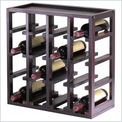 Winsome Kingston Modular and Stackable 16 Bottle Wine Cubby in Espresso