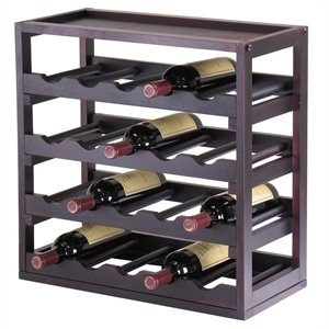 Modular and Stackable 20 Bottle Wine Cubby in Espresso