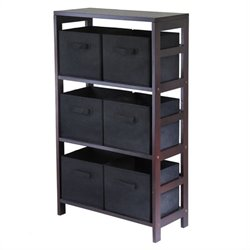 3 Shelf Storage Rack with 6 Foldable Black Baskets