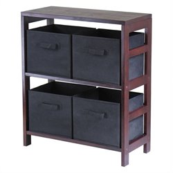 Leo 2-Section Storage Shelf with 4 Foldable Black Fabric Baskets