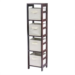 4-Section Tall Storage Shelf with 4 Foldable Beige Baskets