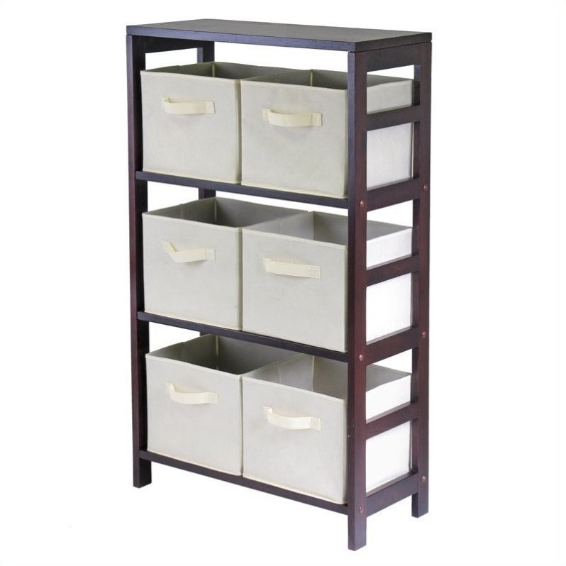3-Section Wide Storage Shelf with 6 Foldable Beige Baskets
