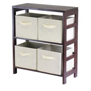 2-Section Wide Storage Shelf with 4 Foldable Beige Fabric Baskets