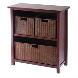 Winsome Milan 2 Shelf Storage Unit with 3 Wired Baskets in Antique Walnut