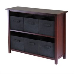 3-Tier Long Storage Shelf with 6 Foldable Black Fabric Baskets