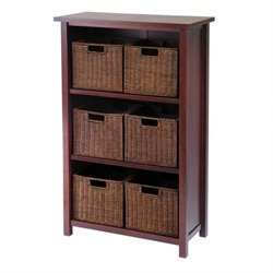 Milan 3 Shelf Storage Unit with 6 Wired Baskets in Antique Walnut