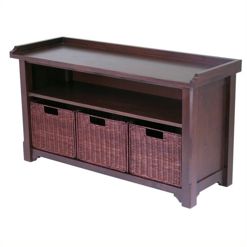 Milan Storage Bench with 3 Wired Baskets in Antique Walnut