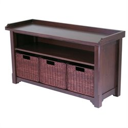 Winsome Milan Storage Bench with 3 Wired Baskets in Antique Walnut