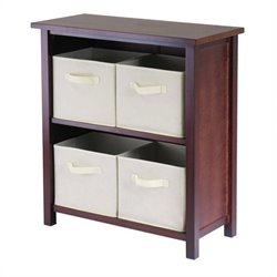 Milan 3-Tier Medium Storage Shelf with 4 Foldable Beige Fabric Baskets
