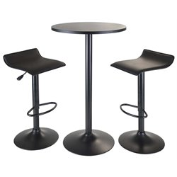 Winsome Obsidian 3 Piece Round Pub Set in Black