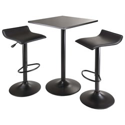 Winsome Obsidian 3 Piece Square Counter Height Dining Set in Black
