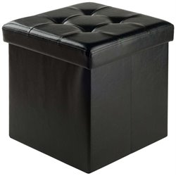 Winsome Ashford Faux Leather Storage Cube Ottoman