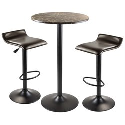 Winsome Cora 3 Piece Round Faux Marble Top Pub Set in Black