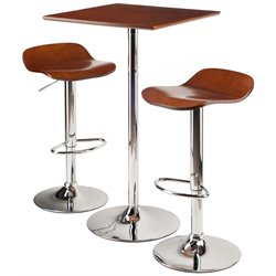 Winsome Kallie 3 Piece Square Pub Set in Cappuccino