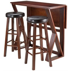 Winsome Harrington 3 Piece Counter Height Drop Leaf Dining Set with Faux Leather Stools