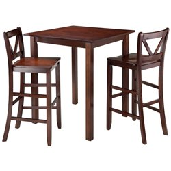 Winsome Parkland 3 Piece Square Pub Set in Walnut