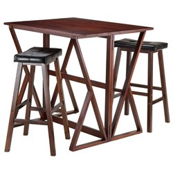 Winsome Harrington 3 Piece Drop Leaf Counter Height Dining Set with Upholstered Saddle Stools