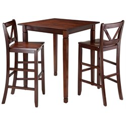 Winsome Kingsgate 3 Piece Square Pub Set in Walnut
