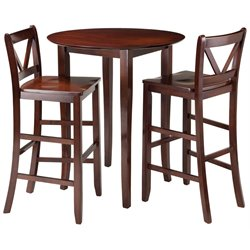 Winsome Fiona 3 Piece Round Pub Set in Walnut