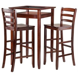 Winsome Halo 3 Piece Glass Top Pub Set in Walnut