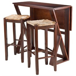 Winsome Harrington 3 Piece Drop Leaf Counter Height Dining Set with Rush Seat Stools