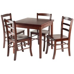Winsome Pulman Extendable Dining Set in Walnut with Ladder Back Chairs