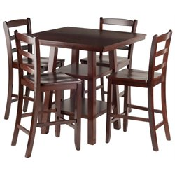 Winsome Orlando Square Counter Height Dining Set in Walnut with Ladder Back Stools