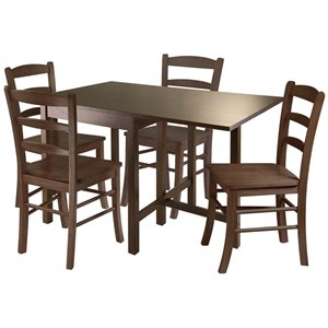 Winsome Lynden Drop Leaf Dining Set in Antique Walnut