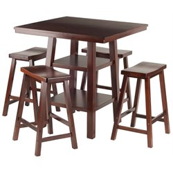 Winsome Orlando Square Counter Height Dining Set in Walnut with Saddle Stools