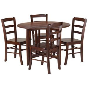 Winsome Alamo 3 Piece Round Drop Leaf Dining Set in Walnut with Ladder Back Chairs