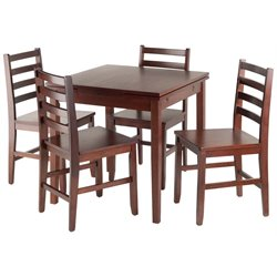 Winsome Pulman Extendable Dining Set in Walnut with Hamilton Ladder Back Chairs