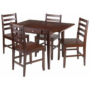 Winsome Hamilton Drop Leaf Dining Set in Antique Walnut