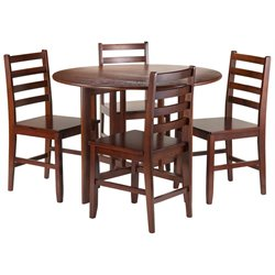 Winsome Alamo 3 Piece Round Drop Leaf Dining Set in Walnut with Hamilton Ladder Back Chairs