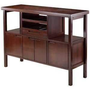 Winsome Diego Wine Rack Buffet Table in Walnut