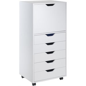Winsome Halifax 5 Drawer Transitional Tall Wooden Door Storage Cabinet in White