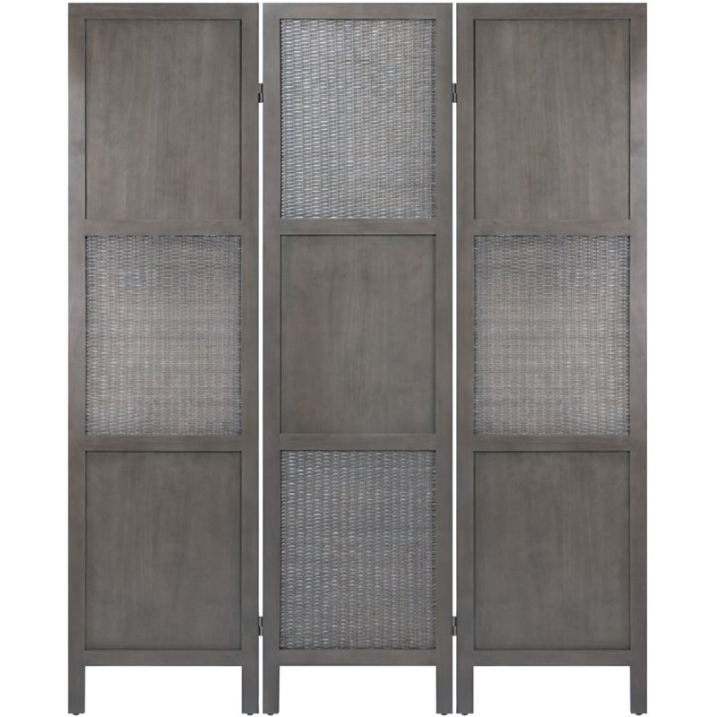 Winsome Ramie 3 Panel Solid Wood Rattan Folding Screen in Oyster Gray