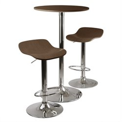 Kallie 3pc Pub Table and Stools Set in Cappuccino