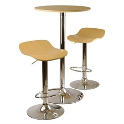 3pc Pub Table and Stools Set in Natural Wood
