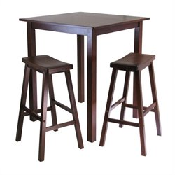 Winsome Parkland 3 Piece Square Pub Table Set in Antique Walnut