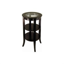 Genoa Espresso Wood End Table with Glass Top