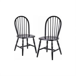 Winsome Windsor Dining Side Chairs in Black (Set of 2)