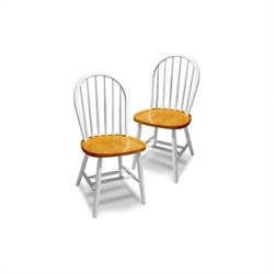 Windsor  Dining Chair in White/Natural (Set of 2)