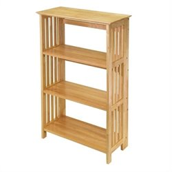 Winsome Mission 4-Tier Folding Bookcase in Beech Finish