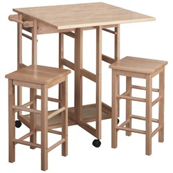 Drop Leaf Table/Kitchen Cart with 2 Stools in Natural Finish