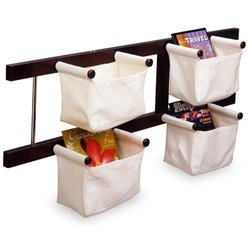 Magazine Rack with Canvas Basket in Espresso Beechwood