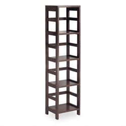 Leo 4-Section Tall Storage Shelf in Espresso