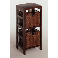 3 Piece Shelf and Basket Set in Espresso Beechwood
