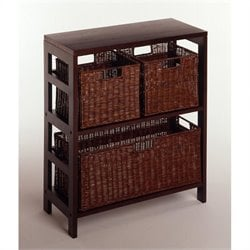 4 Piece Shelf and Basket Set in Espresso Beechwood